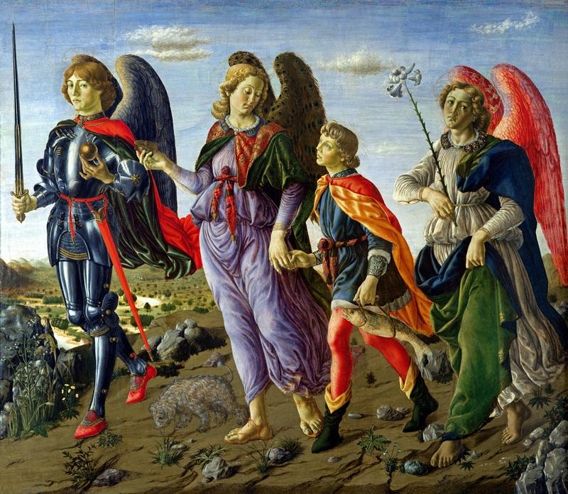 Francesco Botticini, archaniołowie Michał, Rafał i Gabriel z Tobiaszem