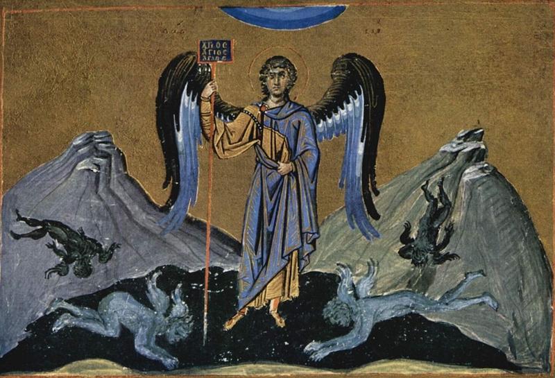 rysunek z menologium Bazylego II (ok. 1000 r.)