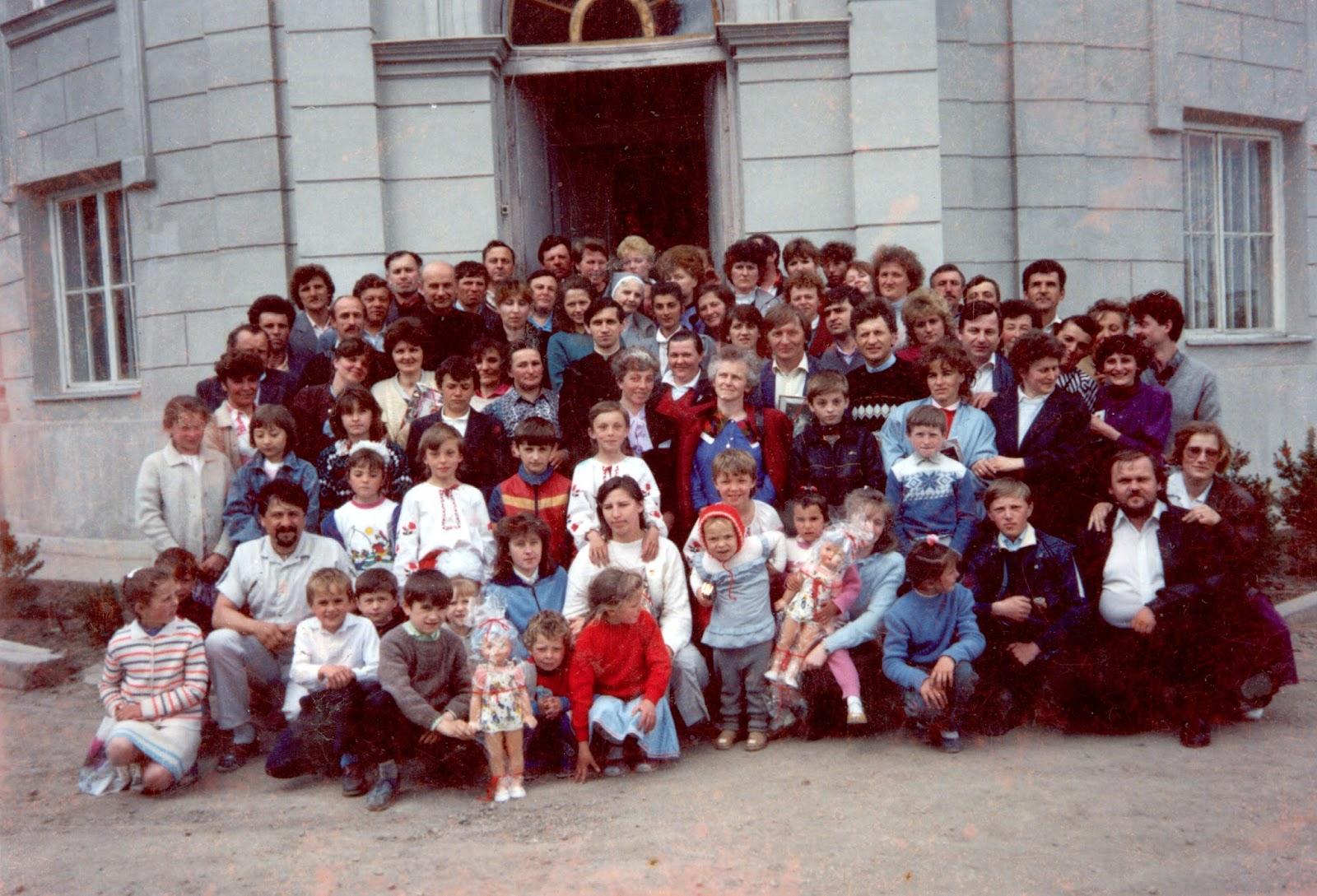 Pierwsze rekolekcje dla rodzin w Gwardijsku, Ukraina, maj 1992r.